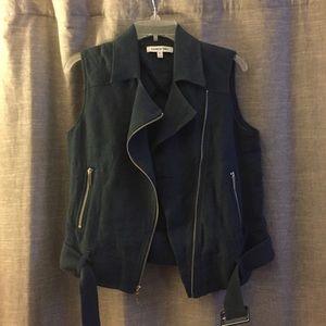Elizabeth and James linen Moto vest XS